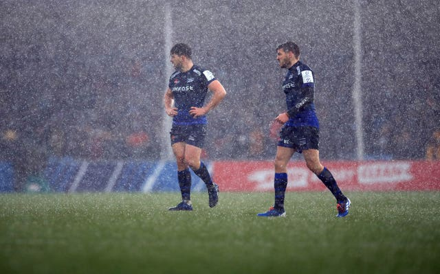 The Champions Cup clash between Exeter and Sale was briefly stopped because of a hailstorm