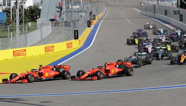Ferrari drivers Sebastian Vettel and Charles Leclerc