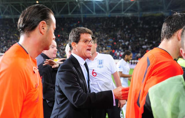 Fabio Capello, pictured here in Ukraine in 2009, was manager when England last lost a qualifying match