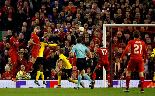 Dejan Lovren headed in late on against Dortmund at Anfield (Peter Byrne/PA Images)
