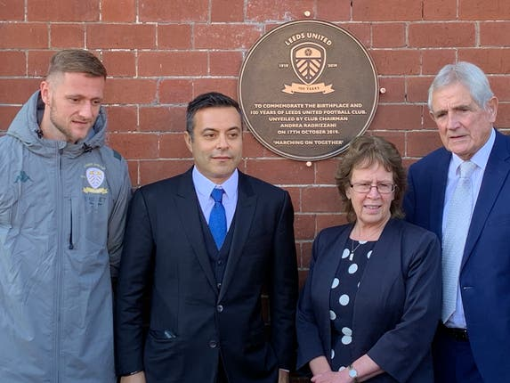 (From left) Leeds captain Liam Cooper, Leeds chairman Andrea Radrizzani, the leader of Leeds City Council Cllr Judith Blake and former Leeds defender Norman Hunter unveil the centenary plaque at Salem Chapel