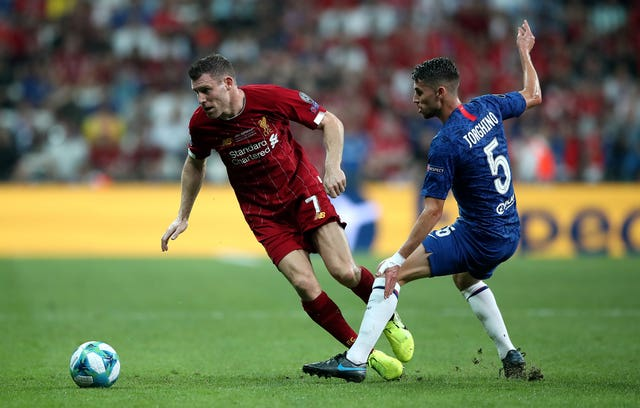 The midfielder formerly known as Jorginho tangles with Liverpool's James Milner