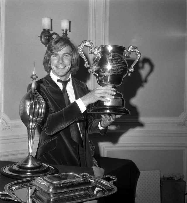 James Hunt celebrates after winning the 1976 Formula One title