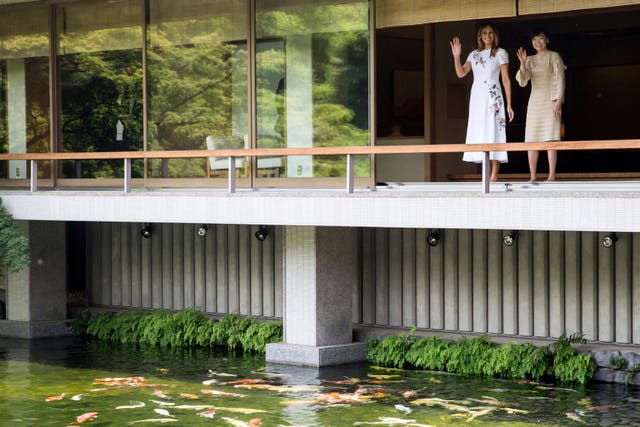 Melania Trump and Akie Abe at the State Guest House in Tokyo