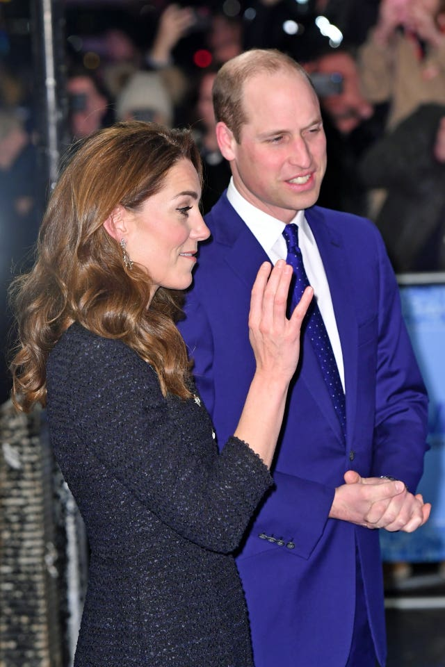 The Duke and Duchess of Cambridge arrive at the Noel Coward Theatre in London to attend a special performance of Dear Evan Hansen