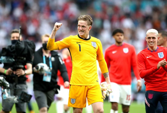 Jordan Pickford celebrates victory over Germany
