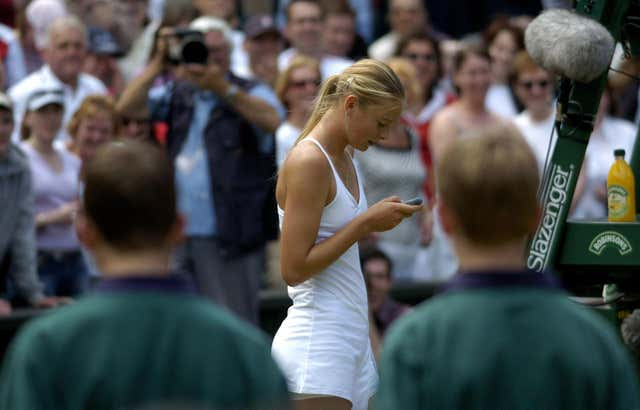 Sharapova attempted to call her mother on Centre Court after victory at Wimbledon