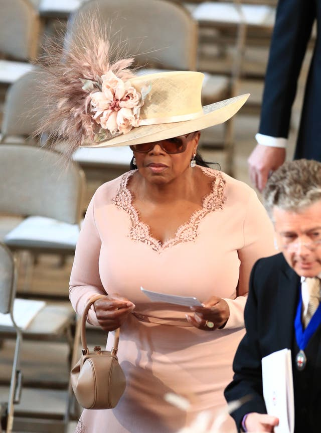 Oprah Winfrey arrives in St George's Chapel at Windsor Castle for the wedding of Prince Harry and Meghan Markle (Danny Lawson/PA)