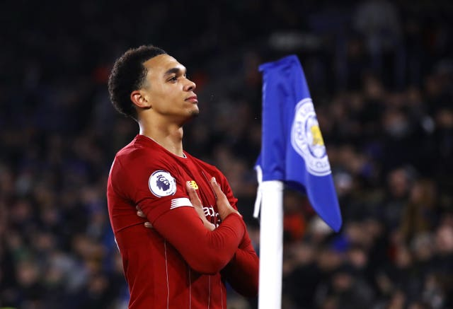 Trent Alexander-Arnold celebrates Liverpool's fourth
