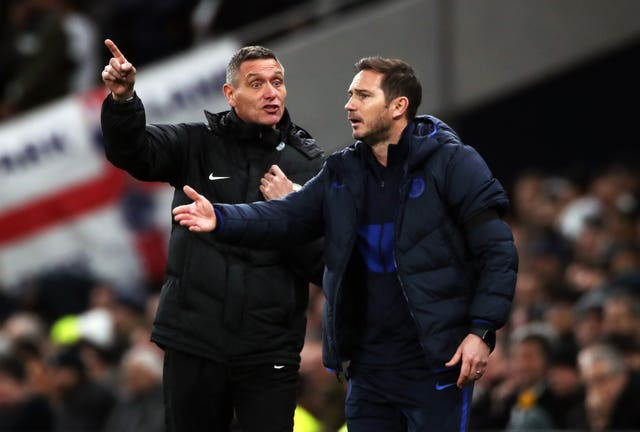 Frank Lampard, right, gestures during the win over Tottenham