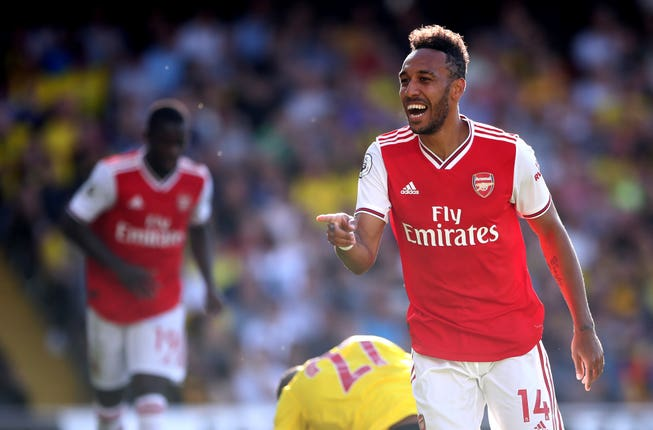 Aubameyang scored twice in the first half