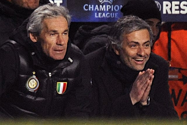 Jose Mourino, right, enjoyed a triumphant reunion against Chelsea as Inter Milan boss in 2010