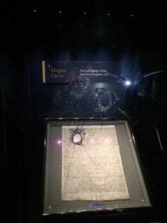 The damaged box holding Magna Carta in Salisbury Cathedral
