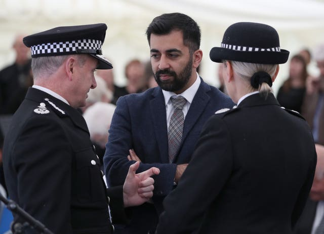 Chief Constable Iain Livingstone, left, talks with Humza Yousaf