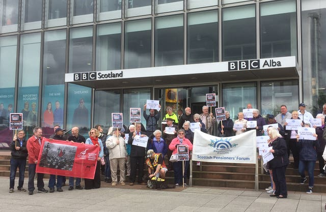 Demonstrators protest outside BBC Scotland headquarters in Glasgow