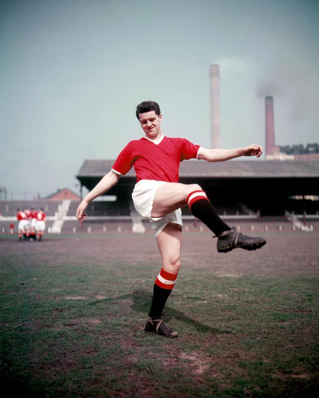 Manchester United's Tommy Taylor scored a hat-trick in a 5-1 World Cup qualifier victory over Ireland in 1957