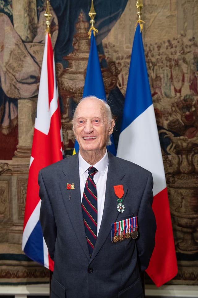 Keith Whiting after being presented with the Legion d'Honneur during a ceremony at the French ambassador's residence in Kensington Gardens, London