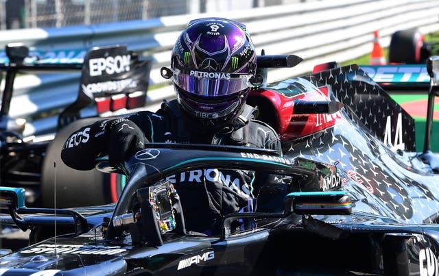 Hamilton leaves his car after making history at Monza