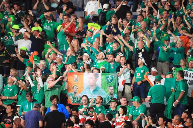 Ireland had great support in their quarter-final against New Zealand but plunged to a 44-16 defeat.