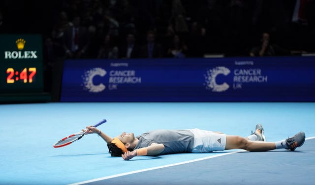 Dominic Thiem celebrates his epic win over Novak Djokovic in London last year