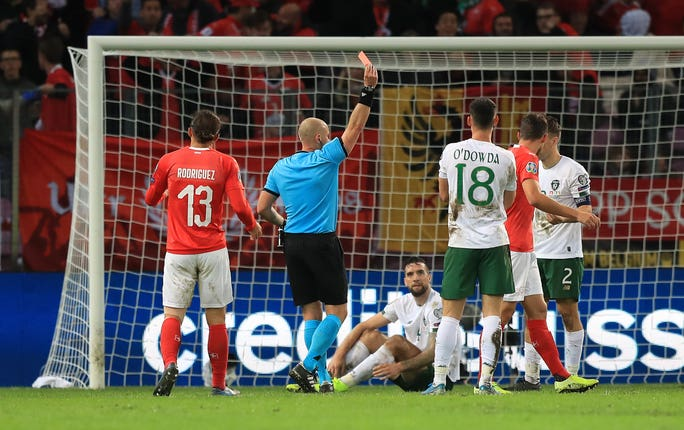 Coleman saw red after conceding a late penalty in Geneva