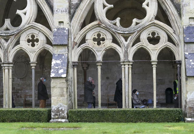 People queued for their jab in the cloisters
