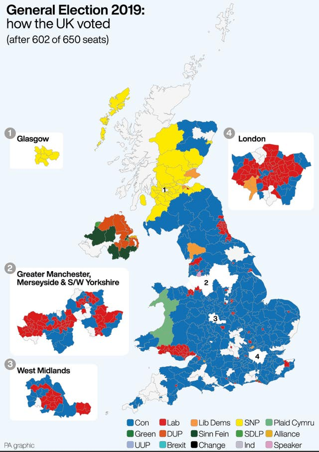 General Election 2019 how the UK voted after 602 0f 650 seats