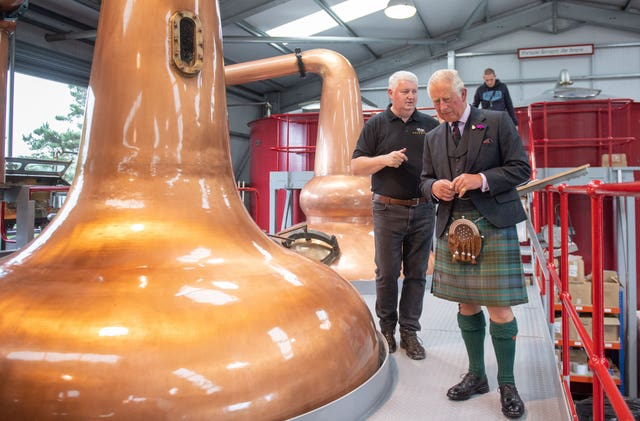 Prince Charles in distillery