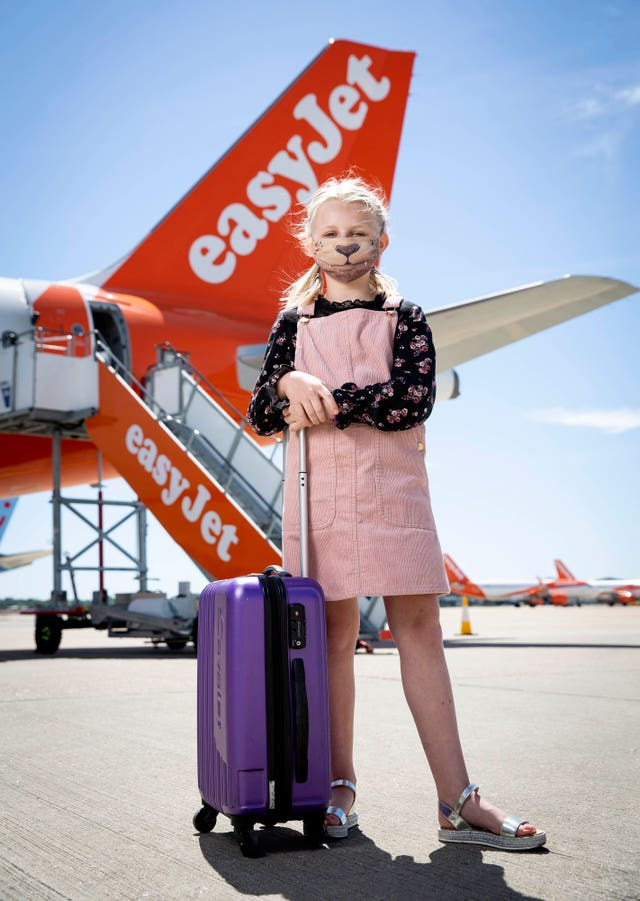 EasyJet will require all passengers to wear a mask when it resumes flights (Matt Alexander/PA)