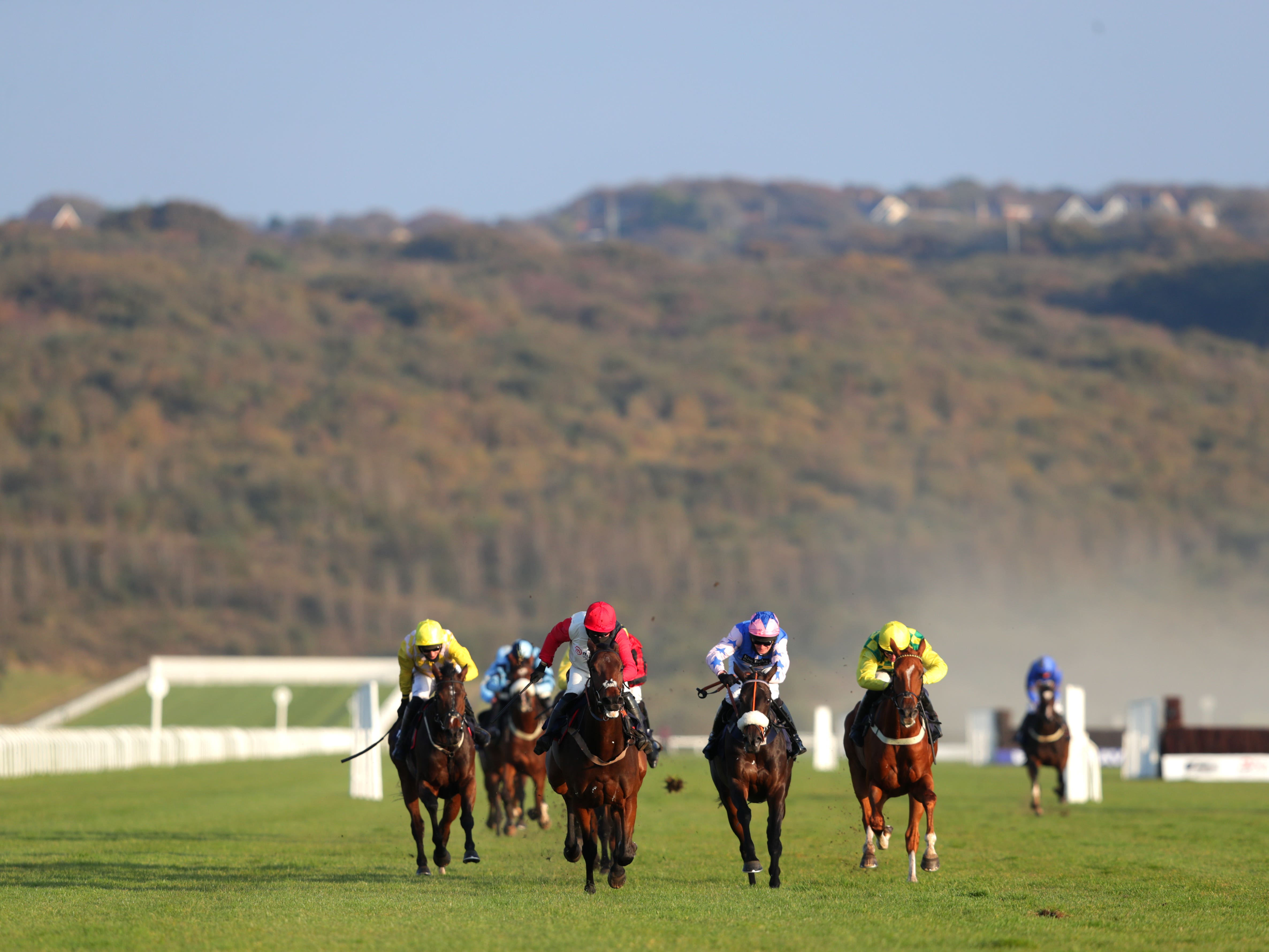 Runners and riders in action at Ffos Las (David Davies/PA)