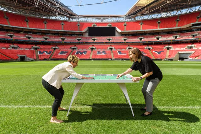 Sue Smith (left) and Marzena Bogdanowicz tried out the new game at Wembley Stadium (FA/PA)