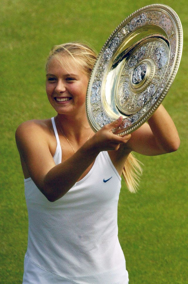 Maria Sharapova celebrates her Wimbledon success in 2004
