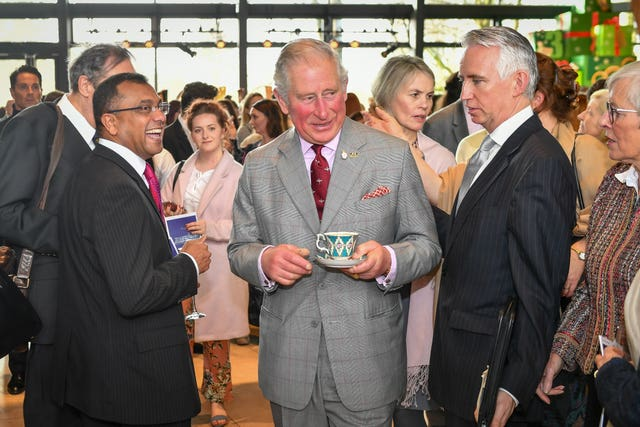 Charles takes tea at the Royal Welsh College of Music & Drama