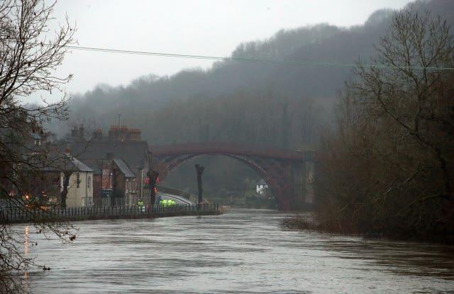 Rising water levels at Ironbridge (Nick Potts/PA)