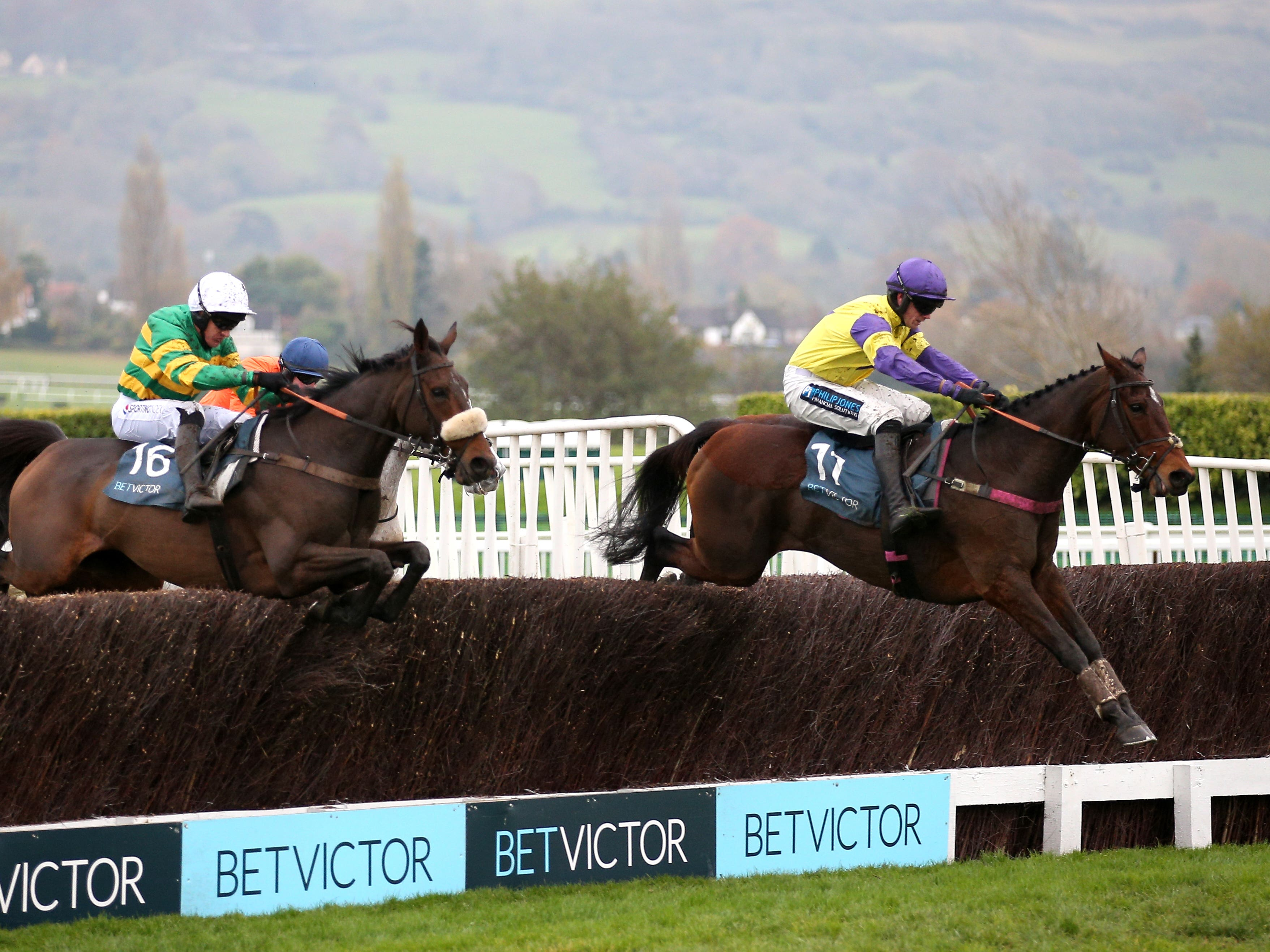 Happy Diva (right) jumps the last in front (Nigel French/PA)
