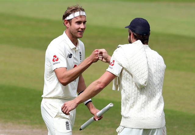 Chris Woakes, right, and Stuart Broad at the end of the Test