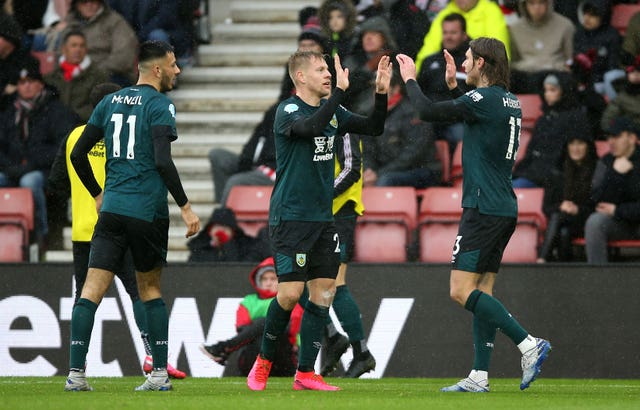 Burnley's Matej Vydra celebrates scoring the winner against Southampton