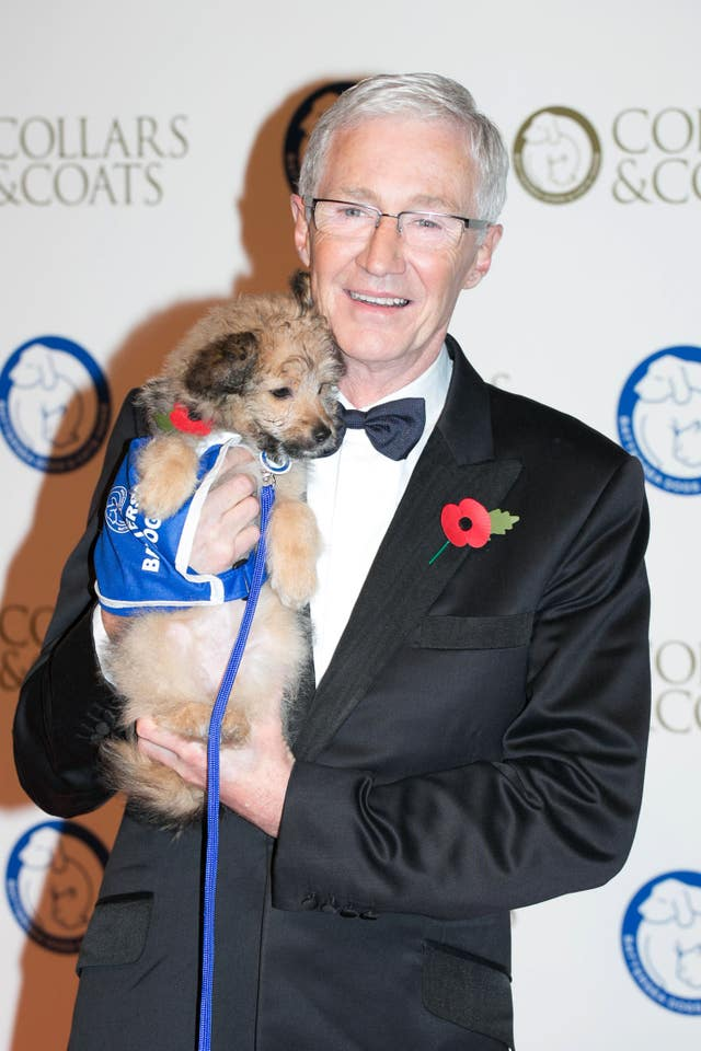 Paul O'Grady arrives at the Battersea Dogs' Collars and Coats Gala fundraising ball at the Battersea Evolution Marquee, London (Daniel Leal-Olivas/PA)