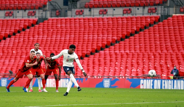 Marcus Rashford equalised for England in an empty Wembley