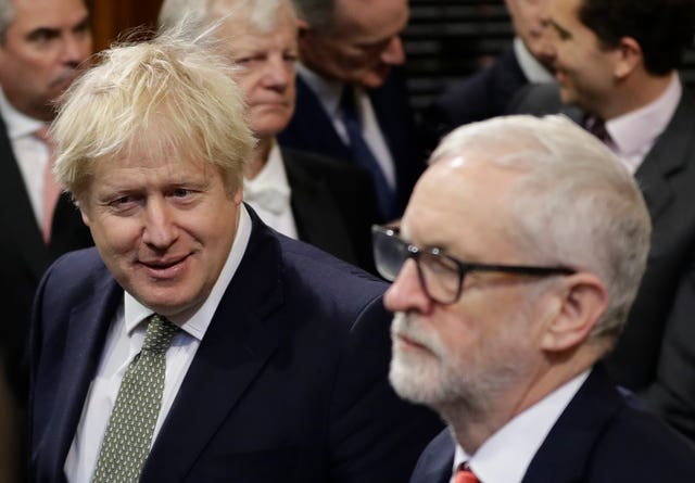 Prime Minister Boris Johnson and then opposition Labour Party Leader Jeremy Corbyn (Kirsty Wigglesworth/PA)