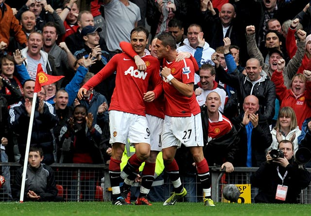 Dimitar Berbatov hit a hat-trick to down Liverpool 3-2 at Old Trafford in 2010.