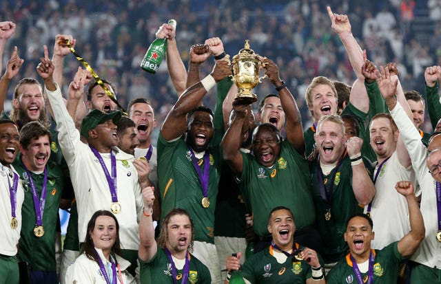 South Africa president Cyril Ramaphosa was present to join in the World Cup celebrations