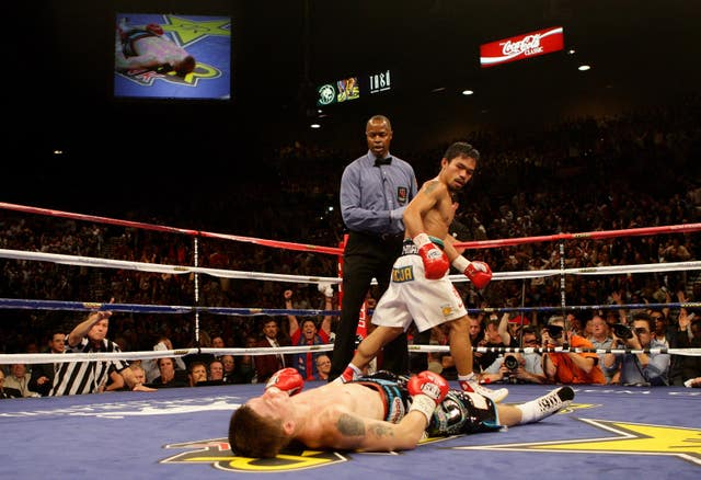 Hatton was knocked out in the second round by Pacquiao