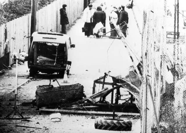 The scene following an IRA attack on Loughgall RUC station, County Armagh, in May 1987