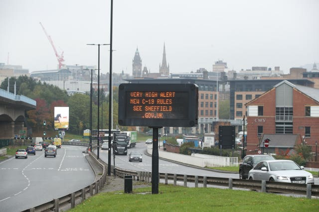 A coronavirus advice sign in Sheffield city centre (Danny Lawson/PA)