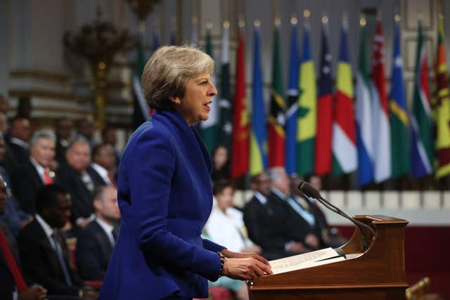 Prime Minister Theresa May speaks at the formal opening (Jonathan Brady/PA)