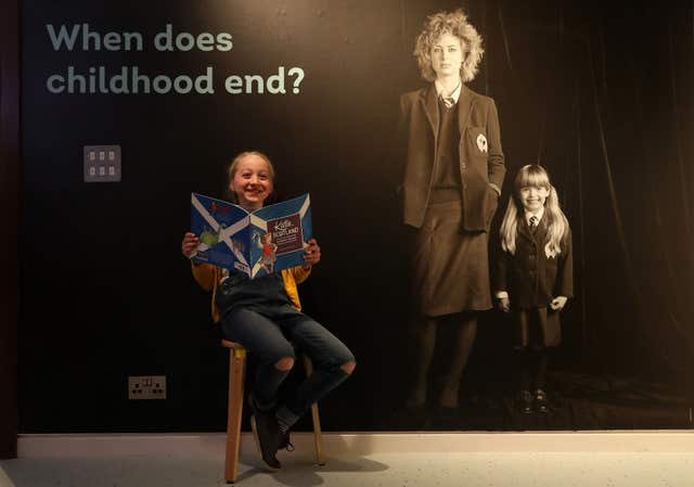 Poppy Willis, eight, at the reopening of the Museum of Childhood in Edinburgh (Andrew Milligan/PA)