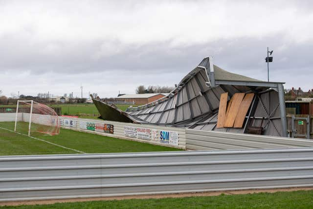 Non-league club Wisbech Town have felt the full force of Storm Ciara after a stand at their Fenland Stadium collapsed