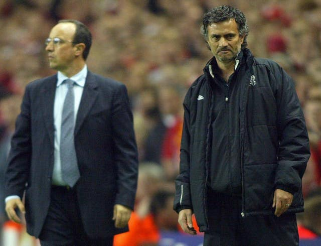 Then Chelsea manager Jose Mourinho (right) and Liverpool boss Rafael Benitez clashed on several occasions