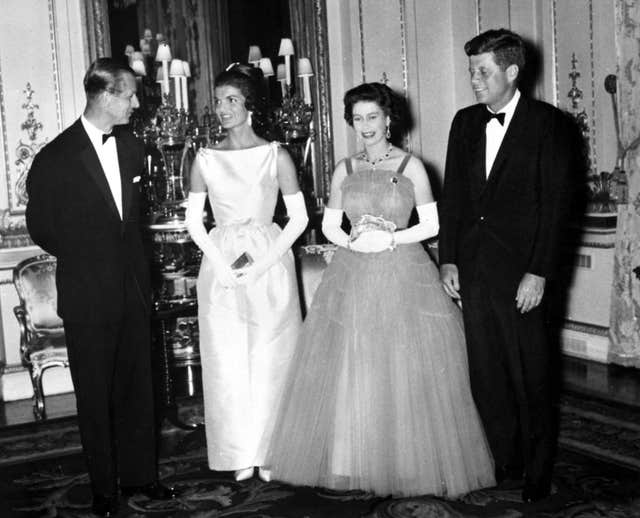 President John Kennedy (right) with his wife (second left) Jacqueline, meeting the Queen and the Duke of Edinburgh (PA)